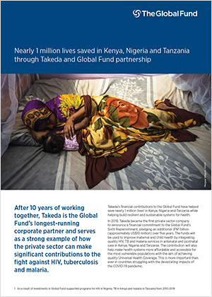 Nearly 1 million lives saved in Kenya, Nigeria and Tanzania through Takeda and Global Fund partnership
