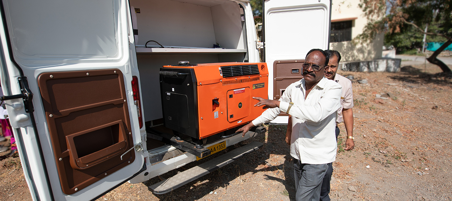 Each van travels with a lab technician, and is equipped with a cooler and a generator. Gopinath Danane, the driver of the van visiting the hospital in Rajgurunagar, said he sometimes spends up to five hours to reach remote communities