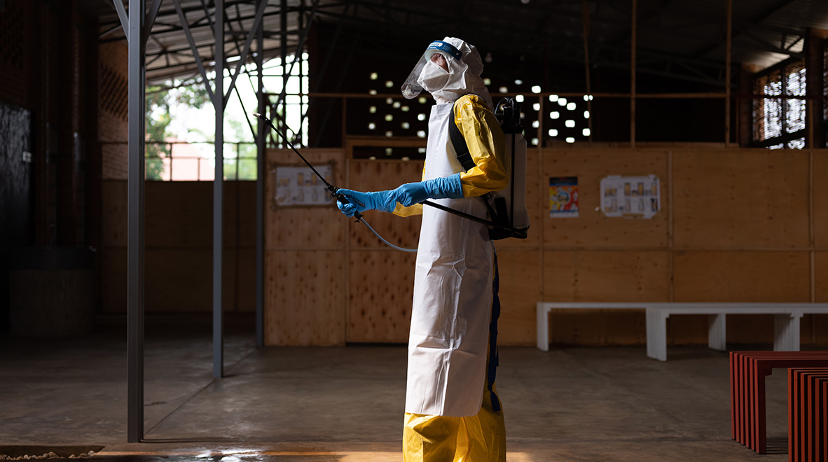 Eugene Uwamahoro, 35, has been trained to deal with a possible Ebola outbreak at the Rubavu-Rugerero Ebola Treatment Center, Rwanda. The center is at the ready, though no cases of the virus have been confirmed in Rwanda. (Nichole Sobecki / VII for the Global Fund)