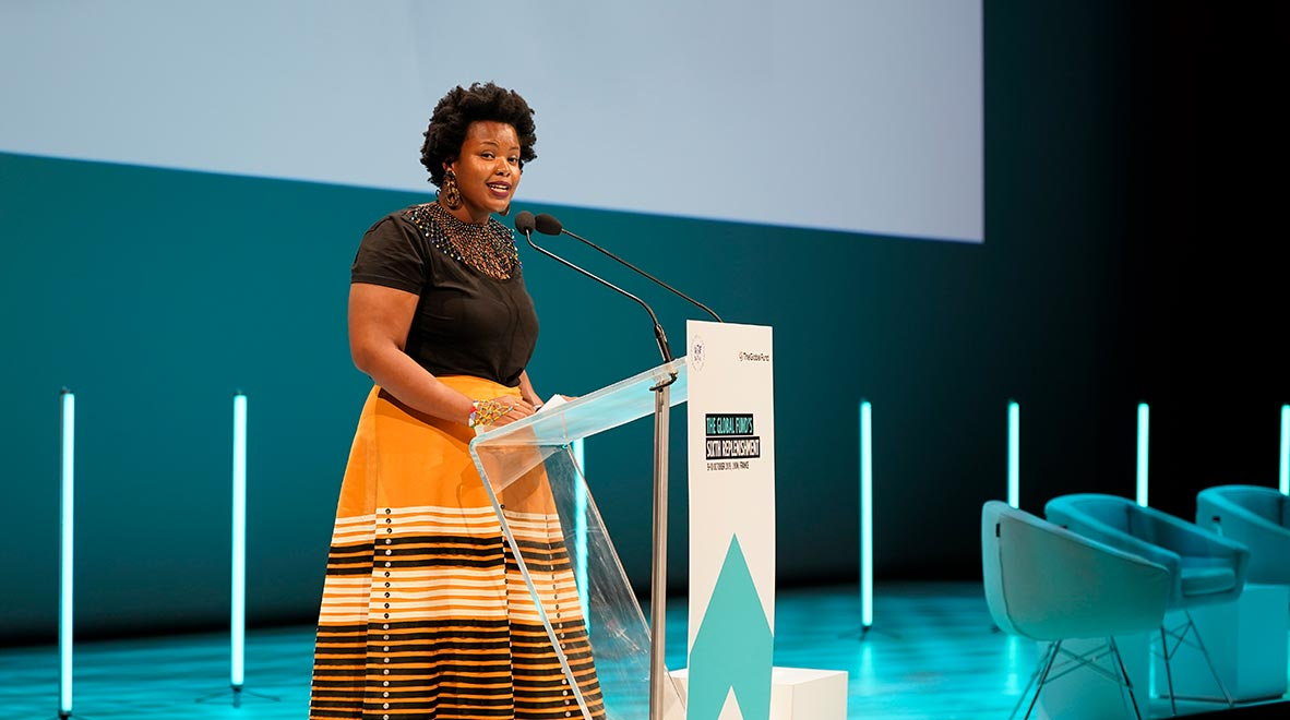 Dr. Zolelwa Sifumba of South Africa speaks about her experience with tuberculosis at the Global Fund's Sixth Replenishment Conference in Lyon, France 9 October 2019.