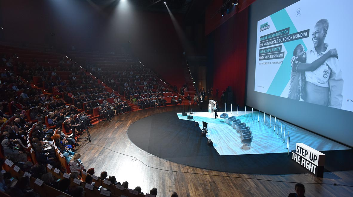 The amphitheater of the Congress Center in Lyon, France, where the Global Fund's Sixth Replenishment Conference was held 9-10 October 2019.