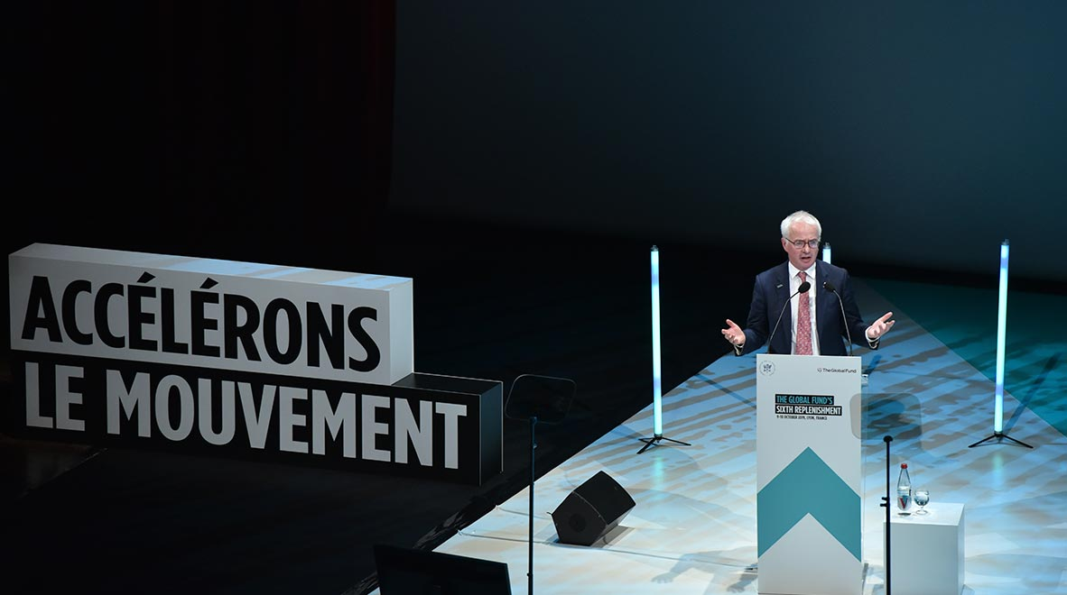 Global Fund Executive Director Peter Sands speaks at the Global Fund's Sixth Replenishment Conference in Lyon, France 9 October 2019.