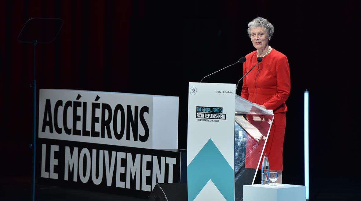 Nane Lagergren Annan speaks at the Global Fund's Sixth Replenishment Conference in Lyon, France 9 October 2019. She spoke about her and her late husband's, former United Nations Secretary General Kofi Annan, support for the organization.