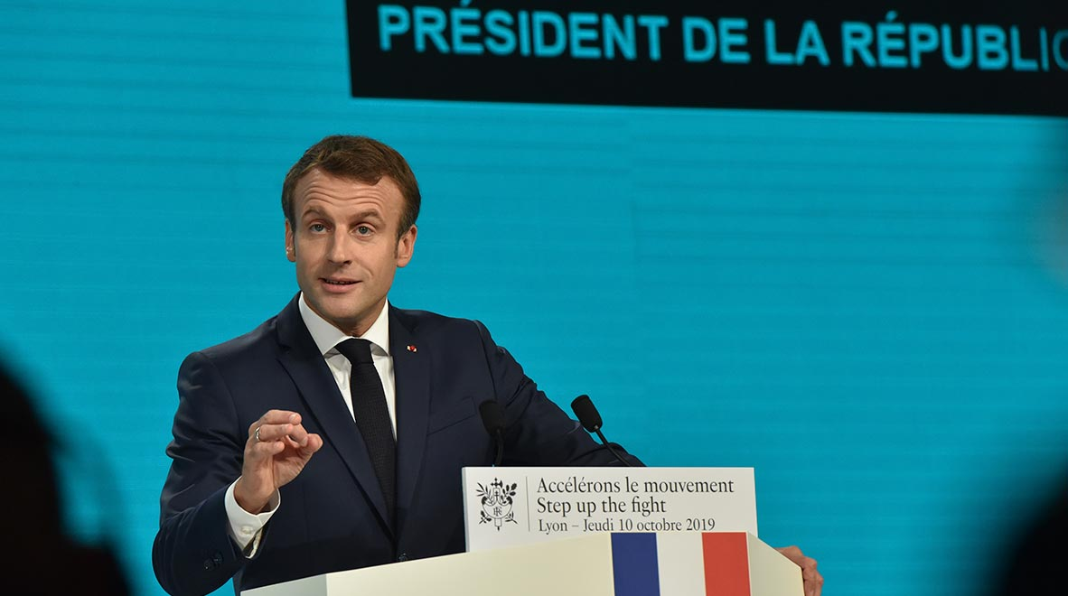 French President Emmanuel Macron speaks at the Global Fund's Sixth Replenishment Conference in Lyon, France 10 October 2019.