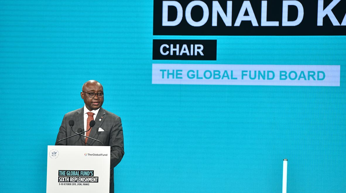 Chair of the Global Fund Board Dr. Donald Kaberuka speaks at the Global Fund's Sixth Replenishment Conference in Lyon, France 10 October 2019.