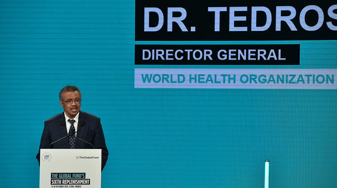 World Health Organization Director-General Dr. Tedros Adhanom Ghebreyesus speaks at the Global Fund's Sixth Replenishment Conference in Lyon, France 10 October 2019.