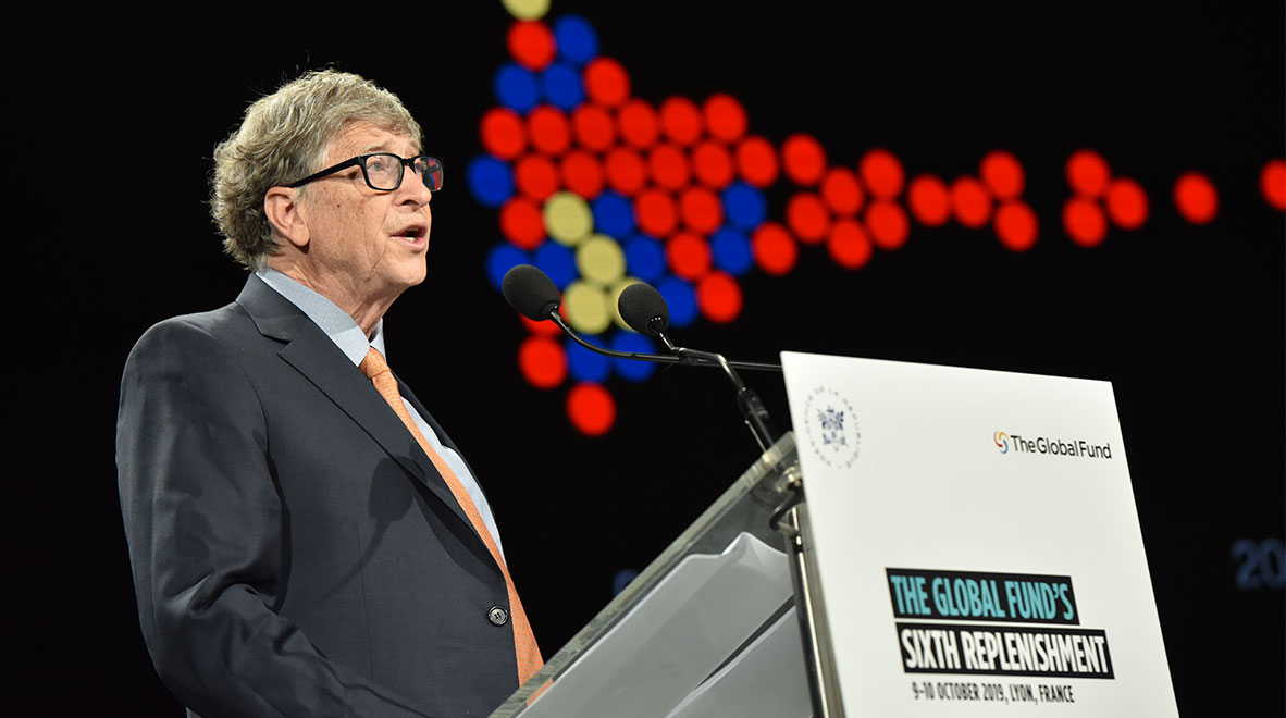 Bill Gates, Co-Chair of the Bill and Melinda Gates Foundation, speaks at the Global Fund's Sixth Replenishment Conference in Lyon, France 10 October 2019.
